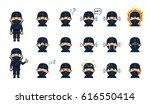 set of chibi ninja emoticons.... | Shutterstock .eps vector #616550414