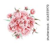 watercolor romantic bouquet of... | Shutterstock . vector #616555970