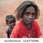 Small photo of NORTHERN TERRITORY, AUSTRALIA - JUNE 20 2009: A portrait of two unidentified aborigine boys.
