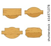 set of wooden blank  board.... | Shutterstock .eps vector #616571378