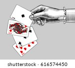 woman's hand with playing cards ... | Shutterstock .eps vector #616574450
