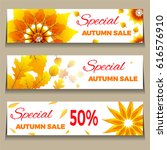 big autumn sale. three banners... | Shutterstock . vector #616576910