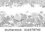 hand drawn underwater natural... | Shutterstock .eps vector #616578740