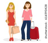 women tourists with bags and... | Shutterstock .eps vector #616593428