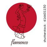spanish flamenco dancer. vector ... | Shutterstock .eps vector #616601150