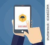 mobile security app on... | Shutterstock .eps vector #616602344