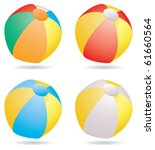 vector set of beach balls | Shutterstock .eps vector #61660564