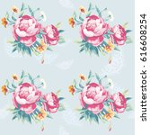 seamless floral pattern with... | Shutterstock .eps vector #616608254