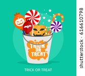 trick or treat conceptual design | Shutterstock .eps vector #616610798