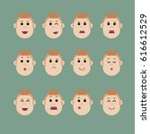 set of male facial emotions ... | Shutterstock . vector #616612529