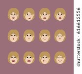 set of female facial emotions ... | Shutterstock . vector #616612556