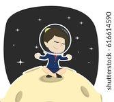 businesswoman doing yoga on moon | Shutterstock . vector #616614590