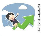 businesswoman riding graph... | Shutterstock . vector #616614593