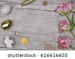 colored easter eggs and flowers ... | Shutterstock . vector #616616603