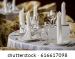 decorated wedding banquet hall... | Shutterstock . vector #616617098