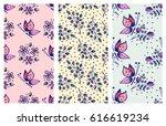 vector set of seamless floral... | Shutterstock .eps vector #616619234