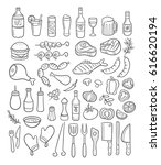 collection of hand drawn bbq... | Shutterstock .eps vector #616620194