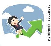businesswoman riding graph... | Shutterstock .eps vector #616625366