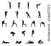 stretching exercise icon set to ... | Shutterstock .eps vector #616627313