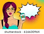 wow pop art female face. sexy... | Shutterstock .eps vector #616630964