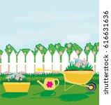 planting flowers in the garden | Shutterstock .eps vector #616631636