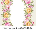 the botanical flowers handmade... | Shutterstock . vector #616634894