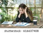business woman stressed a lot... | Shutterstock . vector #616637408