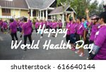 Small photo of World Health Day Concept with a background of healthy activity carried out where a group of participants are having aerobic exercise