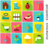spring gardening colorful icons.... | Shutterstock .eps vector #616640168