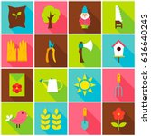 spring garden colorful icons.... | Shutterstock .eps vector #616640243