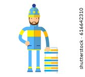 flat man with sled.isolated on... | Shutterstock . vector #616642310