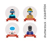 professions people.flat design | Shutterstock . vector #616649504
