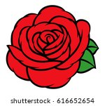 flower rose  red buds and green ... | Shutterstock .eps vector #616652654