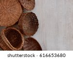 a set of wicker tableware.... | Shutterstock . vector #616653680