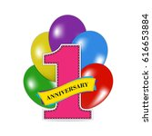 1 year anniversary celebration... | Shutterstock .eps vector #616653884