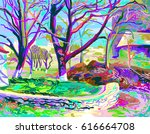 digital painting of natural... | Shutterstock .eps vector #616664708