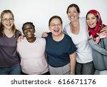 group of women feminism... | Shutterstock . vector #616671176