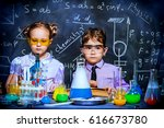 two little children scientists... | Shutterstock . vector #616673780
