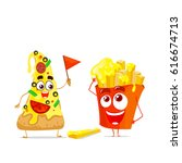 two character with cheese.... | Shutterstock .eps vector #616674713
