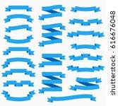 ribbon set in flat style... | Shutterstock . vector #616676048