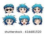 set of funny smiley little boy...   Shutterstock .eps vector #616681520