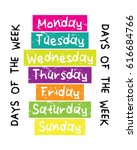 days of the week   monday...   Shutterstock .eps vector #616684766