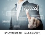 Small photo of Businessman hand touching word success, Concept part to success