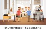 Two Man Drink Coffee Modern Cafe Interior Restaurant Flat Vector Illustration | Shutterstock vector #616686548