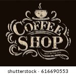 retro vintage coffee logo with... | Shutterstock .eps vector #616690553