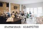 room shot of a busy cafe full... | Shutterstock . vector #616693700