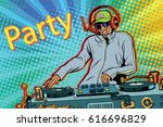dj boy party mix music. pop art ... | Shutterstock .eps vector #616696829