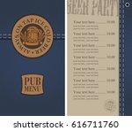 vector menu for beer pub on... | Shutterstock .eps vector #616711760