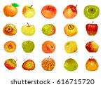 set apples | Shutterstock . vector #616715720
