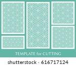 decorative panels set for laser ... | Shutterstock .eps vector #616717124